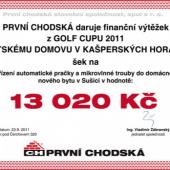 Předání šeku pro Dětský domov Kašperské Hory