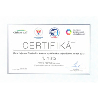 Cena hejtmana Plzeňského kraje za společenskou odpovědnost pro rok 2013.